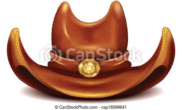 realistisch, vector, hoedje, cowboy - csp18099641