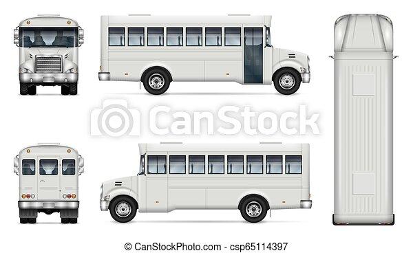 Realistisches, weißes Bus-Vektor-Spot-up - csp65114397