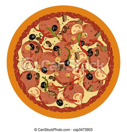 realistisk, vit fond, illustration, pizza - csp3473903