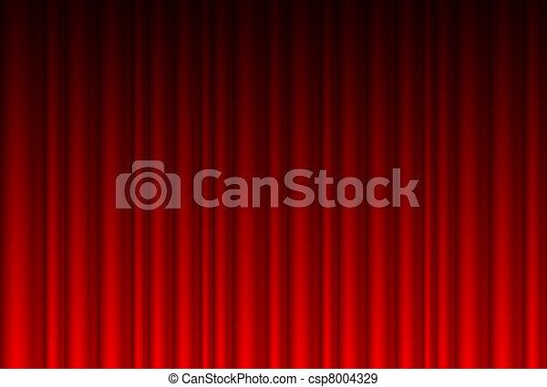 realistyczny, czerwona firanka - csp8004329