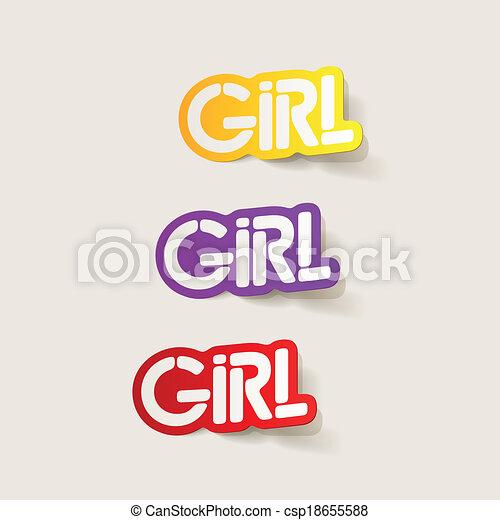 realistyczny, element:, projektować, dziewczyna - csp18655588