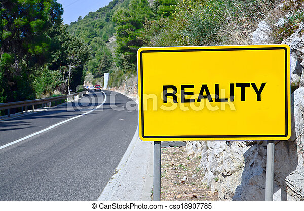 Reality in street sign on motorway - csp18907785