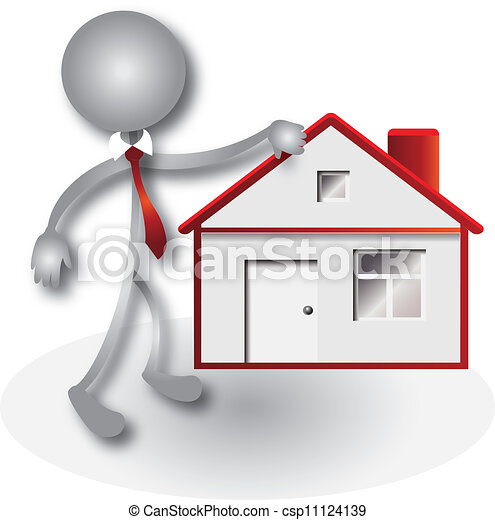 Realtor and red house logo vector - csp11124139
