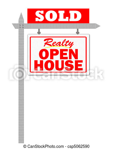 Realty open house sold sign - csp5062590