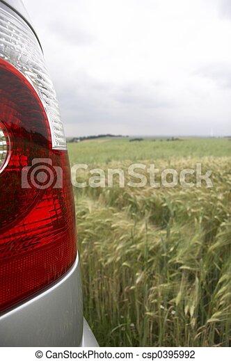 rear light in cornfield - portrait - csp0395992
