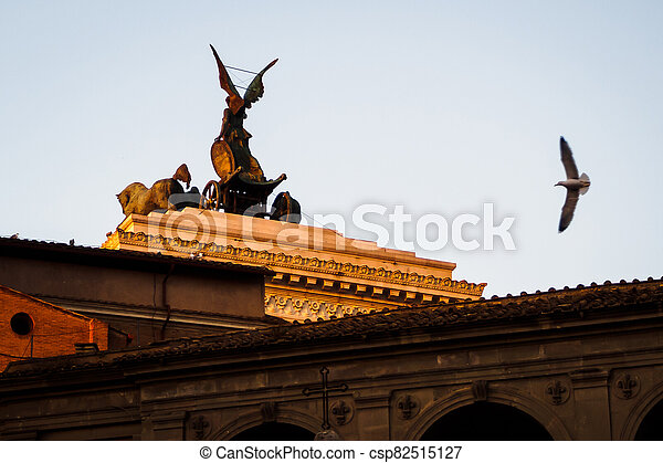 Rear of the monumental Palace Vittorio Emanuele II at sunset in Rome - csp82515127