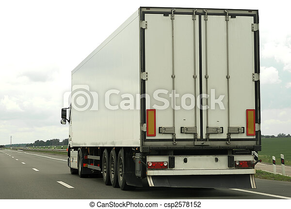 rear of white truck on the highway - csp2578152