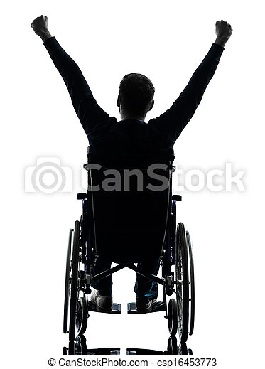 rear view handicapped man arms raised  in wheelchair silhouette - csp16453773