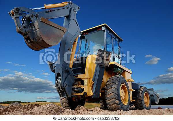 rear view of Loader excavator with rised backhoe - csp3333702
