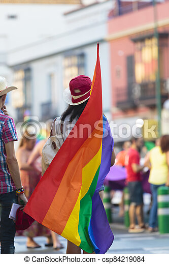 Rear view of person holding gay pride flag - csp84219084