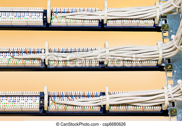 rear view of the patch panels rear view of a patch panel with wires rh canstockphoto com connecting patch panel to switch connecting patch panel to switch