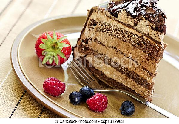 rebanada de pastel, chocolate - csp1312963