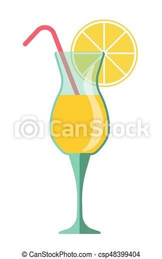 Rebanada, limón, cóctel, paja, amarillo, vidrio. Estacional, verano ...