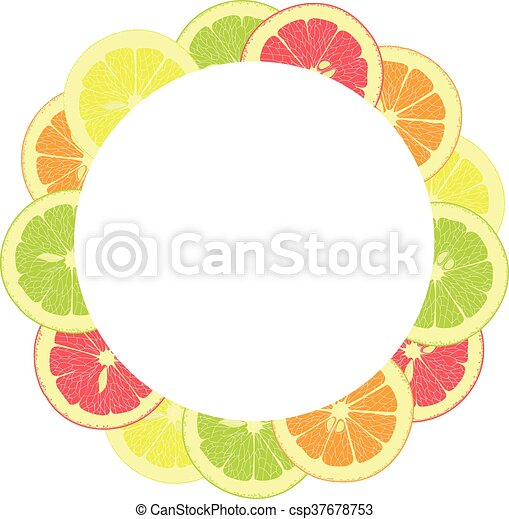 Rebanadas, marco, toronja, cal, limones, entero, redondo, naranjas ...
