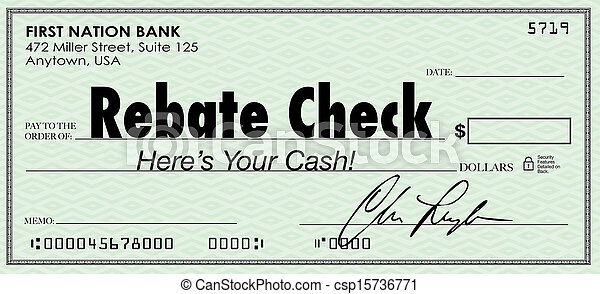 Rebate Check Words Check Money Back Offer Cash Refund - csp15736771