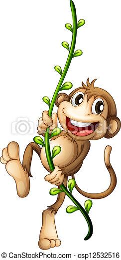 Ein Affe hängt an einer Rebe - csp12532516