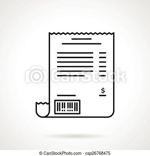Receipt black line vector icon - csp26768475