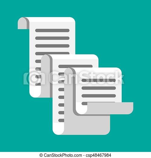 receipt icon paper invoice total bill vector illustration in flat