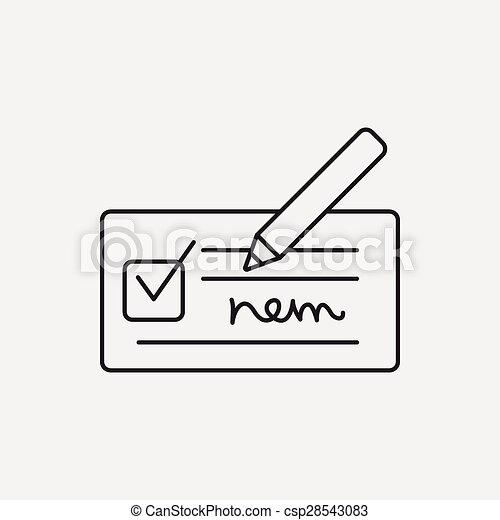 receipt line icon - csp28543083