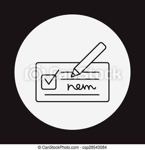 receipt line icon - csp28543084