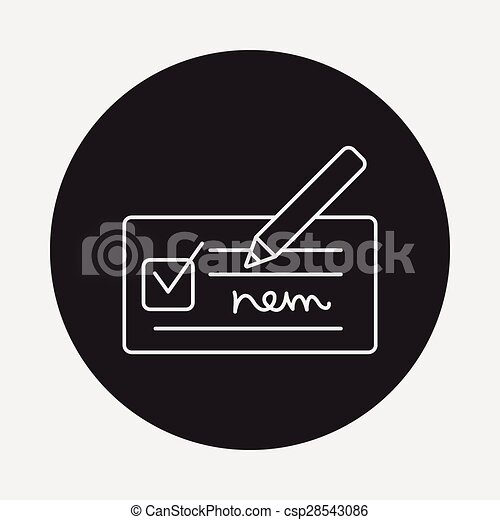 receipt line icon - csp28543086