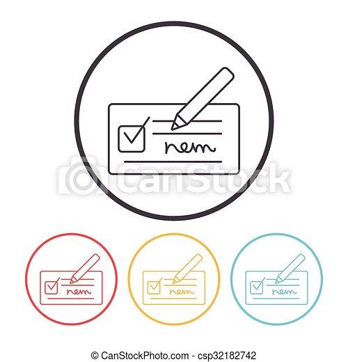 receipt line icon - csp32182742