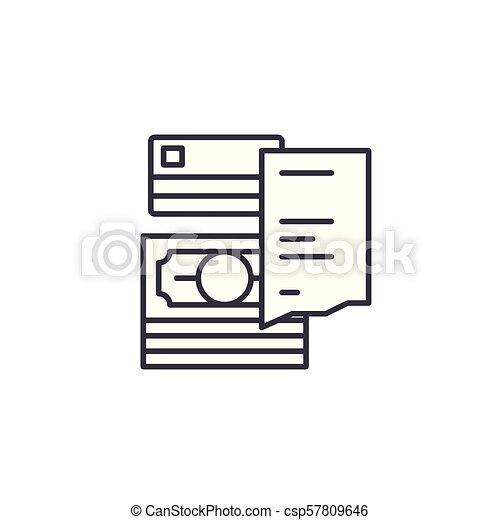 Receipt linear icon concept. Receipt line vector sign, symbol, illustration. - csp57809646