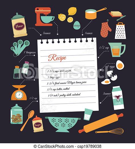 receita, vetorial, desenho, chalkboard, modelo, refeição - csp19789038