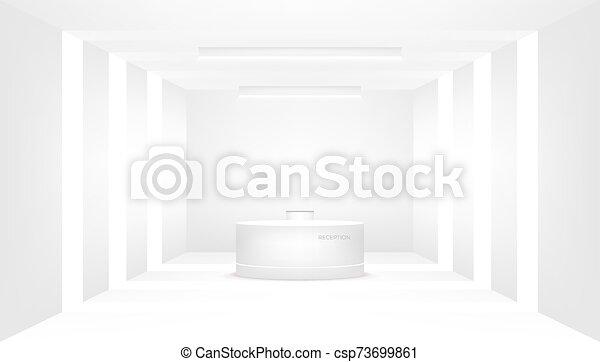 recepción, interior, decorative., mostrador, escritorio, compañía, entrance. - csp73699861