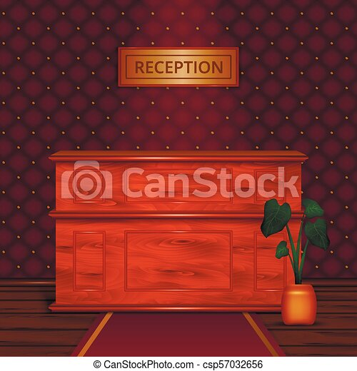 Reception Desk Hotel Interior Realistic