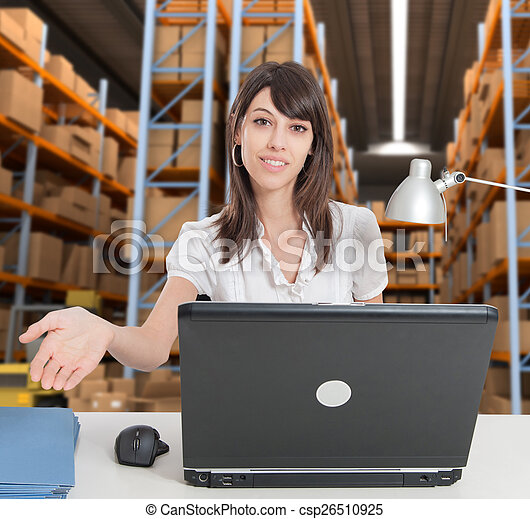 Receptionist at distribution warehouse a - csp26510925