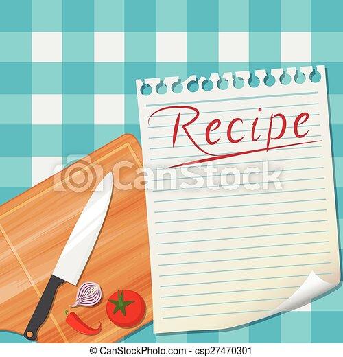 Receta, diseño, plano de fondo, cocina. Receta, ilustración ...
