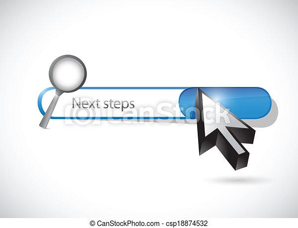 recherche, barre, illustration, suivant, étapes, conception - csp18874532
