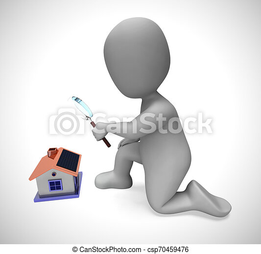 recherche, concept, moyens, maison, -, illustration, regarder, achat, propriété, propriété, 3d - csp70459476