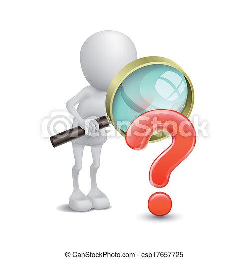 recherche, personne, point interrogation, verre, magnifier, rouges, 3d - csp17657725