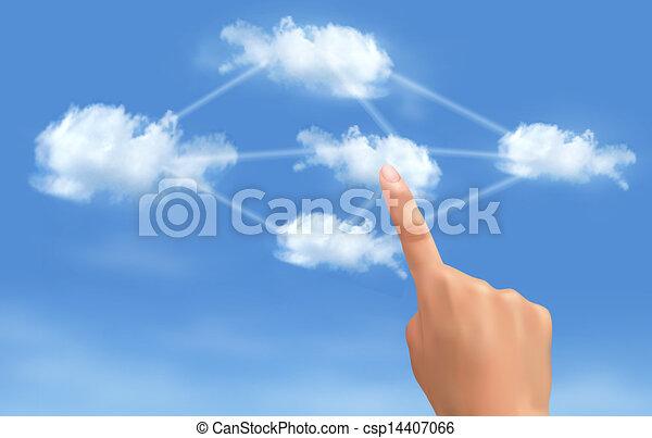 rechnen, concept., hand, berühren, verbunden, vector., clouds., wolke - csp14407066