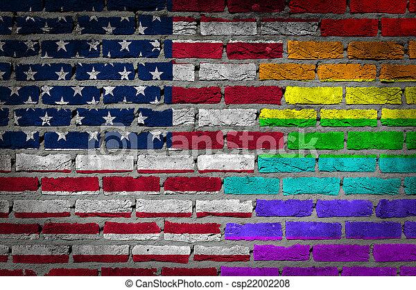 rechten, muur, -, donker, lgbt, baksteen - csp22002208