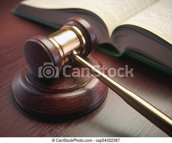 rechter, wetgeving, boek, hamer - csp54322387