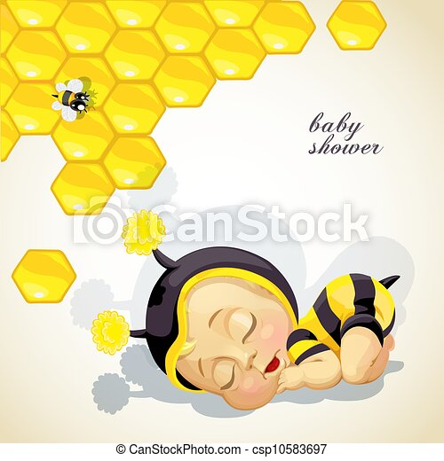 recién nacido, ducha, bebé, tarjeta, niño - csp10583697