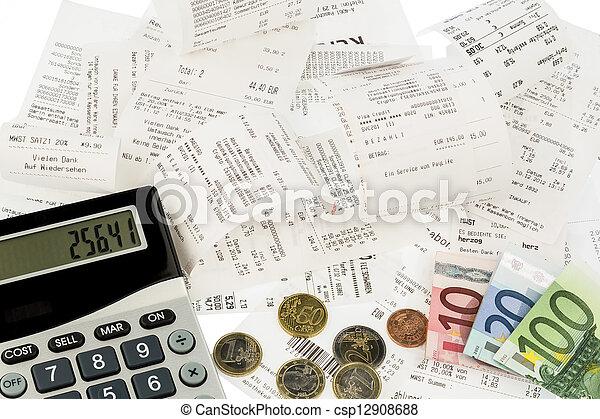 recibos, cuentas, calculadora - csp12908688