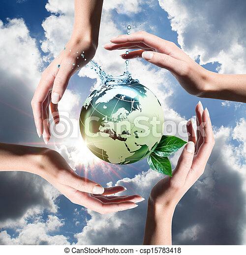 reciclado, elementos, mãos - csp15783418