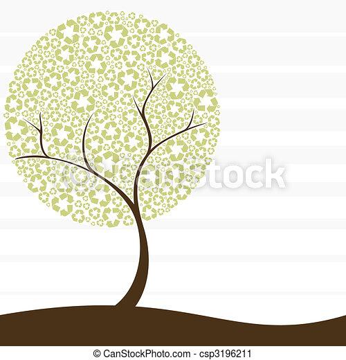 reciclagem, conceito, árvore, retro - csp3196211