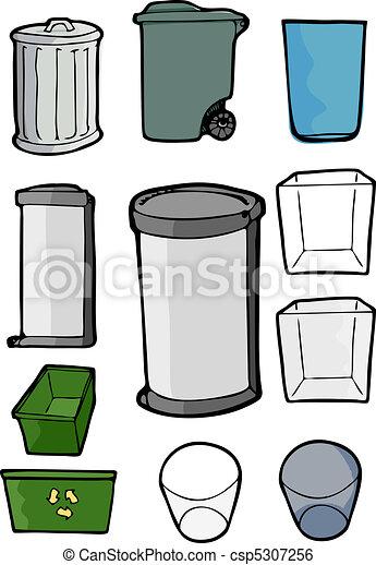Un montón de basura y latas de reciclaje - csp5307256