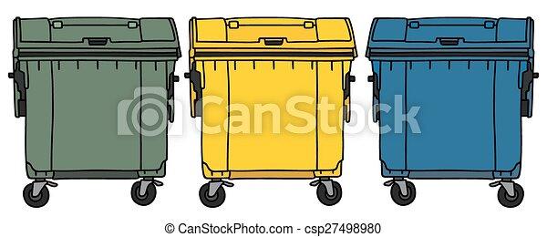 Reciclaje contenedores basura color reciclaje tres mano dibujo contenedores - Contenedores de basura para reciclaje ...