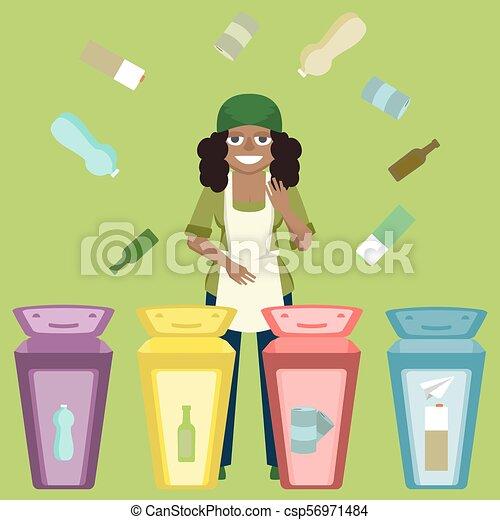 La mujer distribuye basura en vector de reciclaje - csp56971484