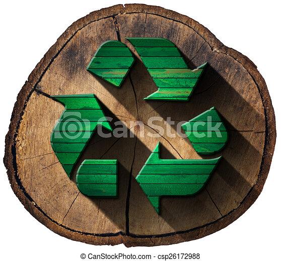 Reciclar el s mbolo tronco de rbol de madera s mbolo - Reciclaje de la madera ...