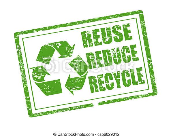 reciclar, estampilla, uso repetido, reducir - csp6029012