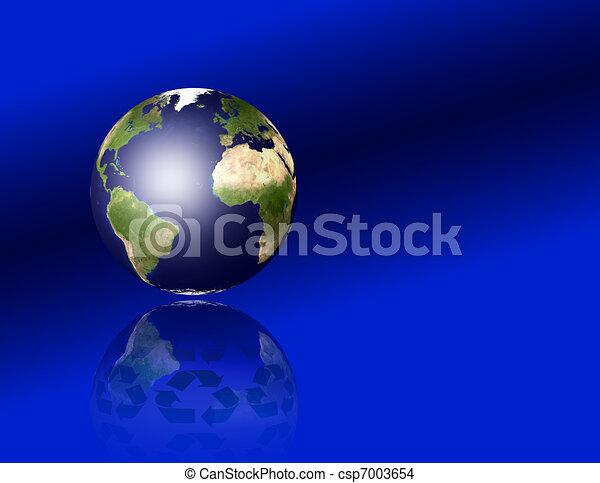 Tierra con símbolos reciclados - csp7003654