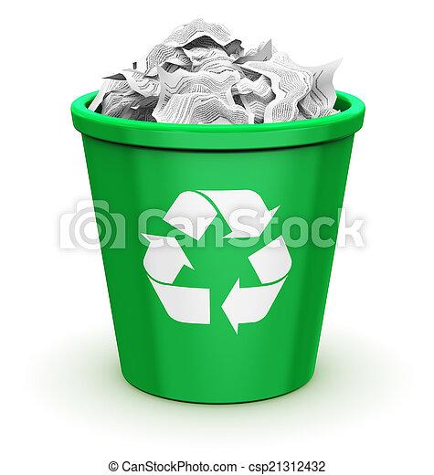 Un cubo de reciclaje completo - csp21312432