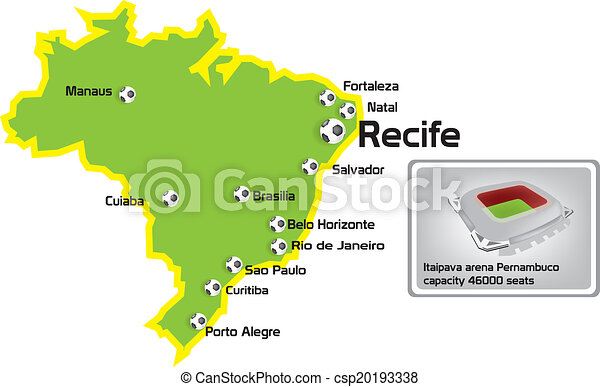 Recife stadium with map location vectors Search Clip Art